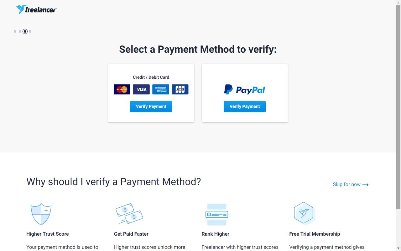 पेपल, क्रेडिट या डेबिट कार्ड के द्वारा सत्यापन