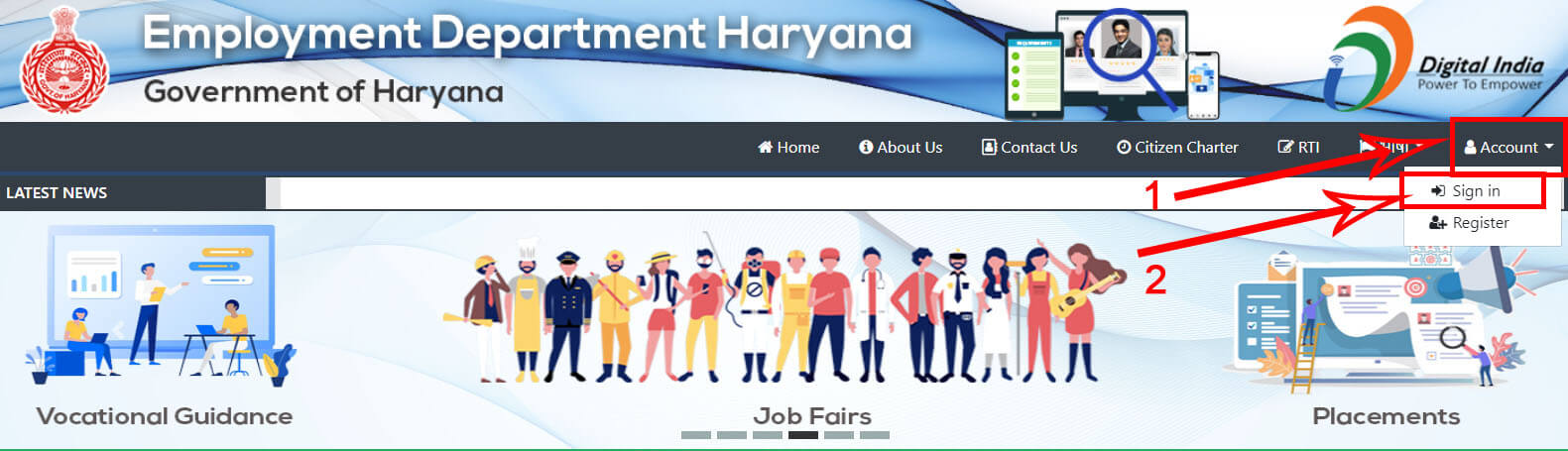 1. Haryana Employment Exchange Sign in