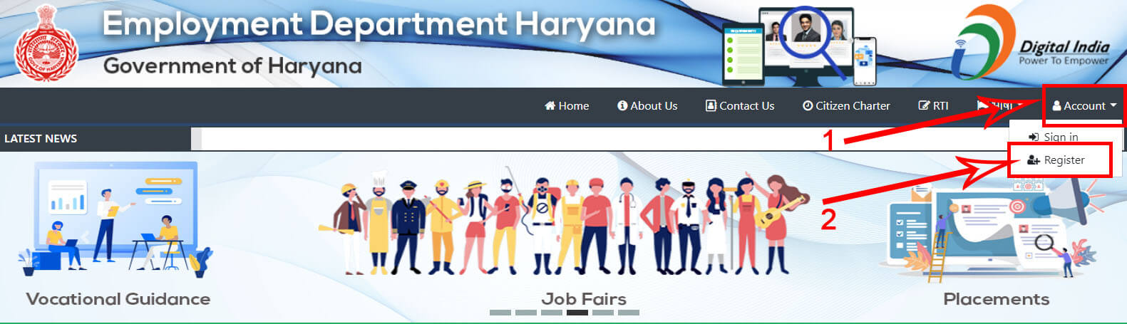 1. Haryana Employment Exchange homepage