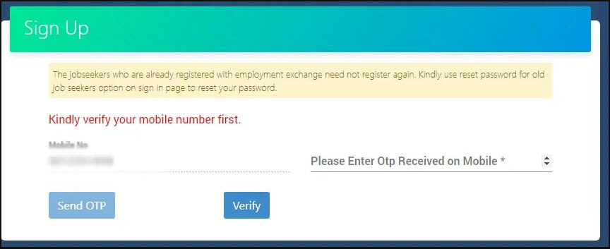 2. Mobile number verify