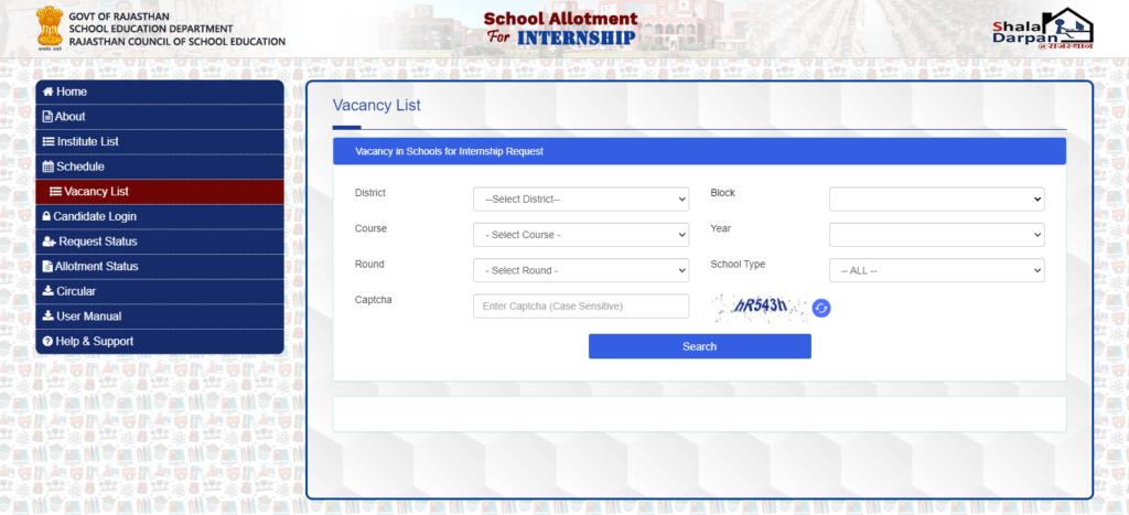 Shala darpan Internship Vacancy list